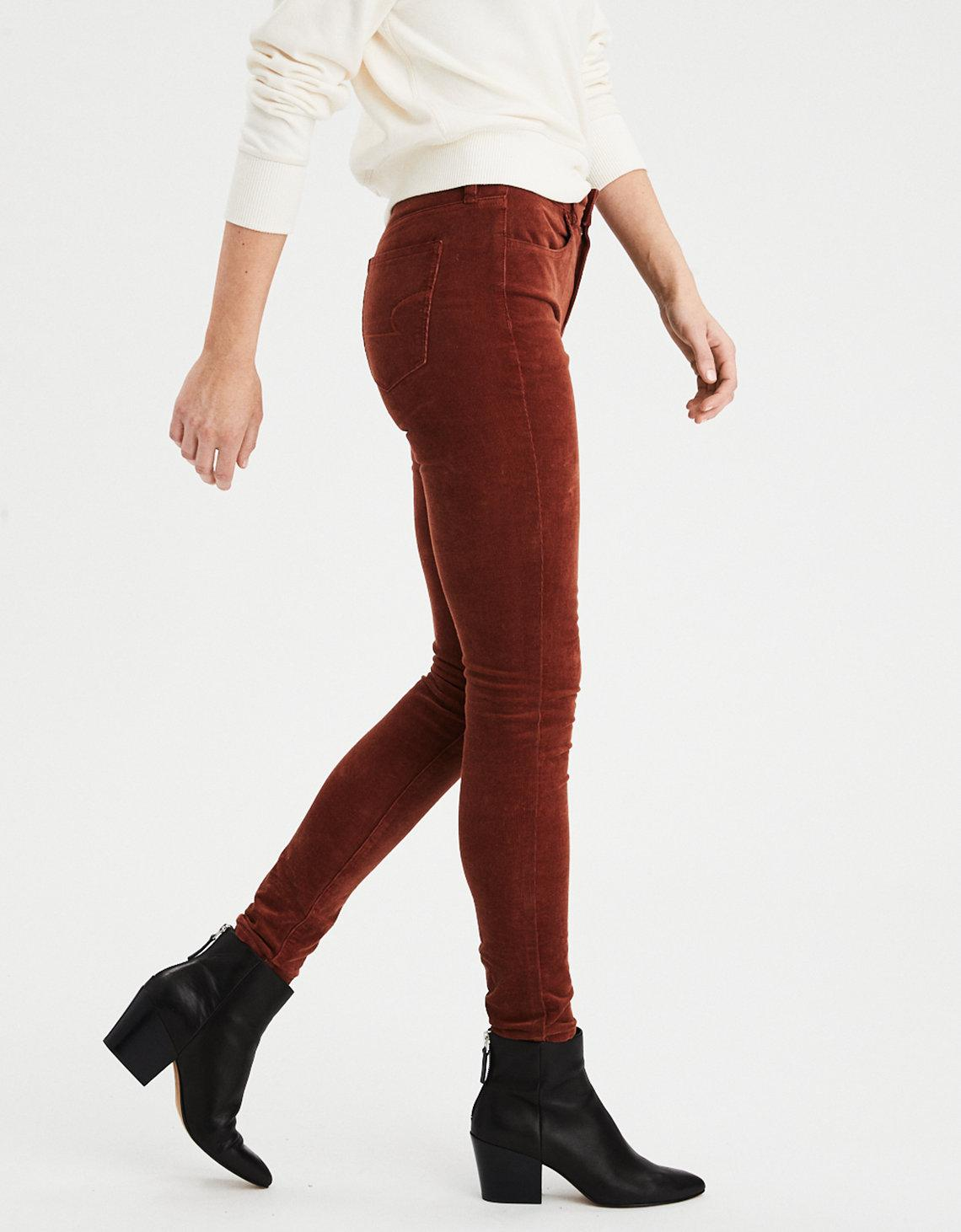 c52899a72a9b51 American Eagle High-waisted Corduroy Jegging in Red - Lyst