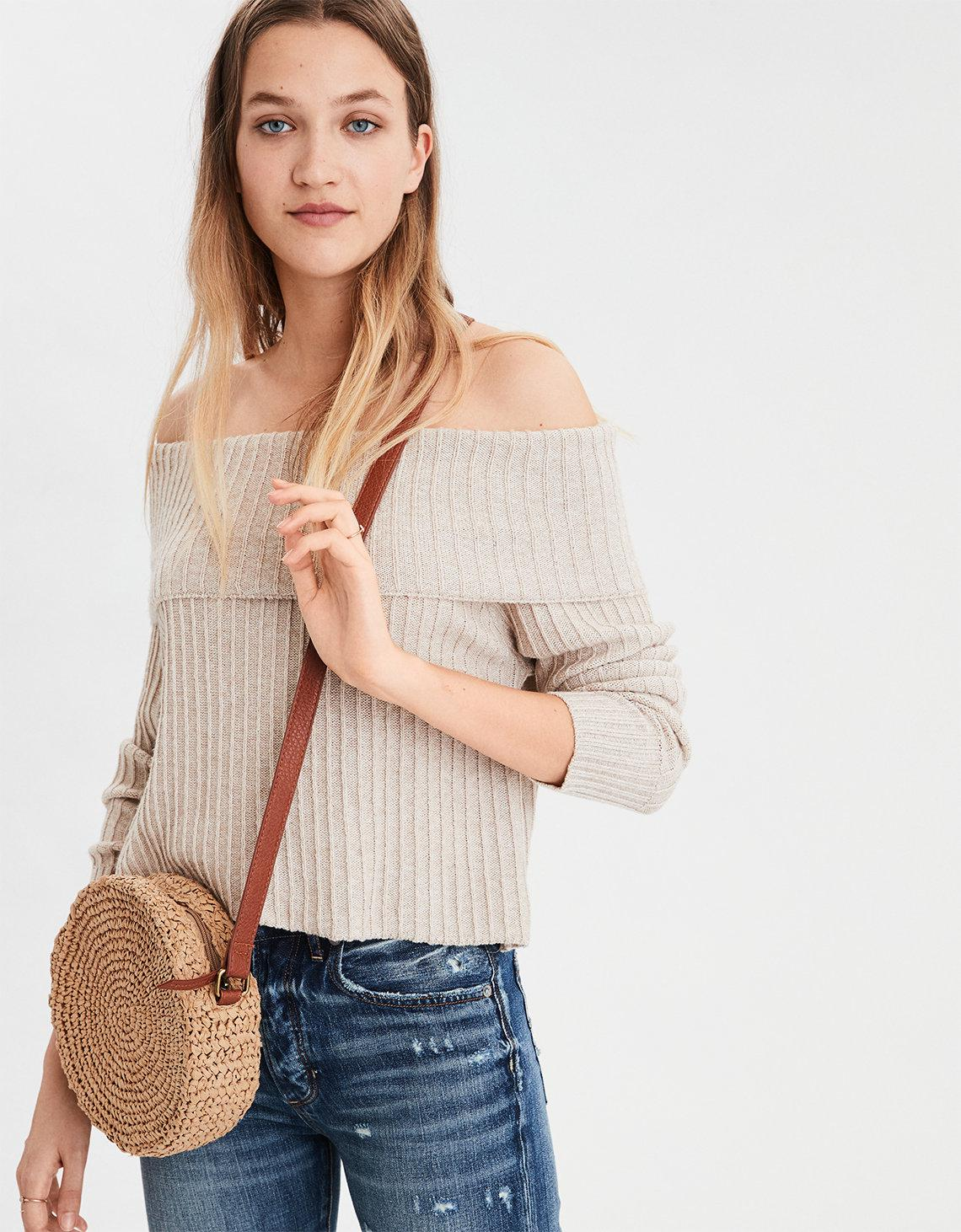 c73ddf8db13 American Eagle Ae Wide Rib Off-the-shoulder Sweater in Natural - Lyst