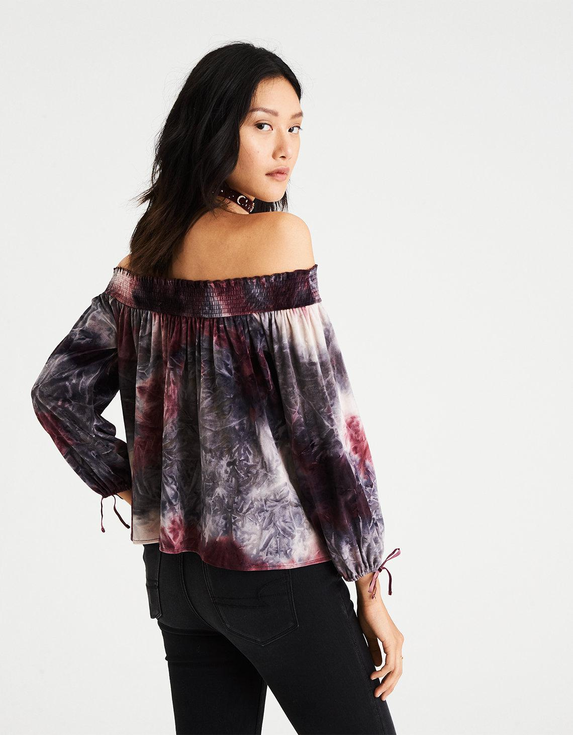 2e271e9378ced Lyst - American Eagle Ae Tie-dyed Velvet Off-the-shoulder Top