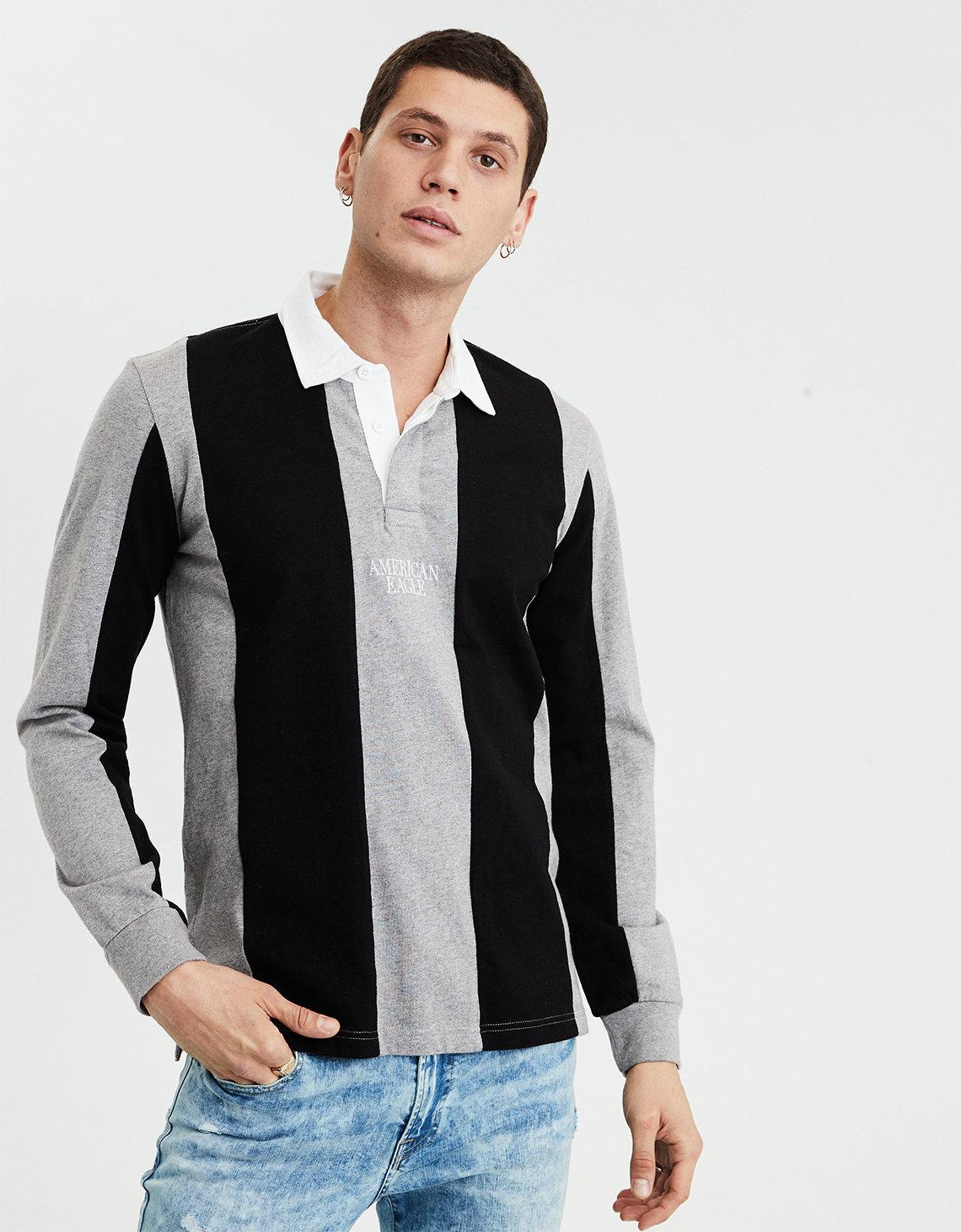 781cee07fea Lyst - American Eagle Ae Long Sleeve Rugby Shirt in Black for Men