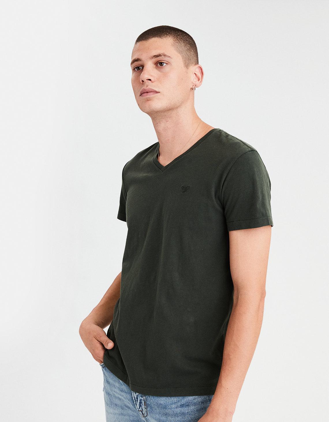 51f2bb26ad81 Lyst - American Eagle Ae Logo Slub V-neck T-shirt in Green for Men