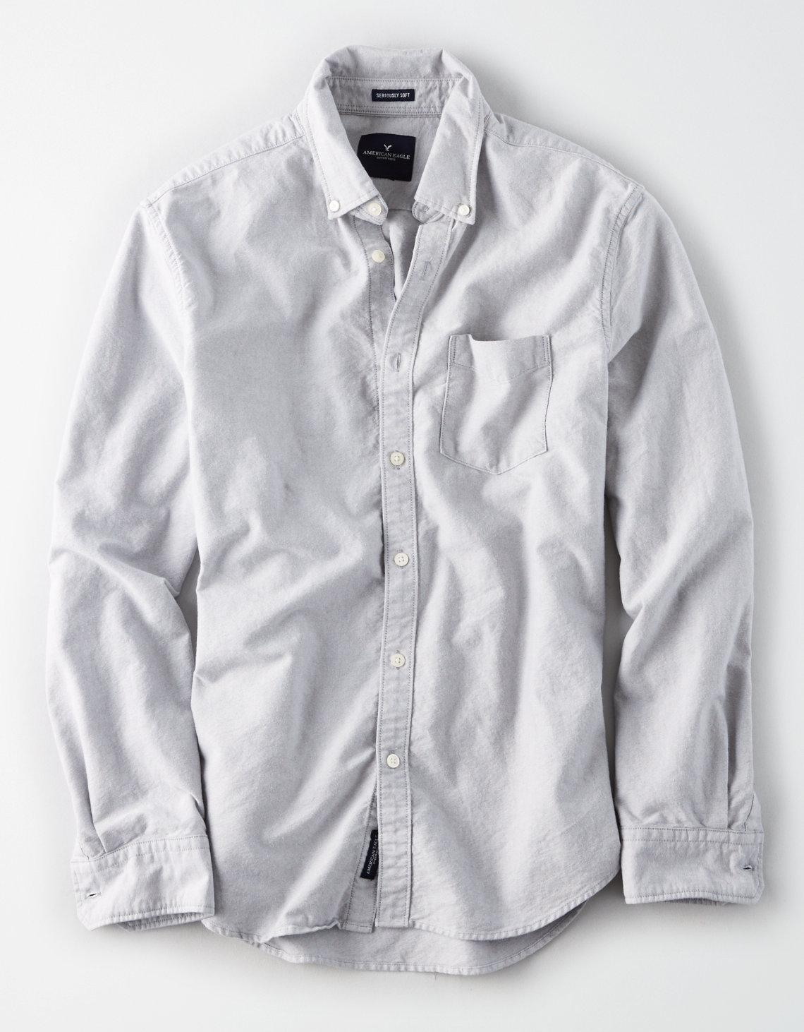 820a3610 American Eagle Ae Classic Button Down Oxford Shirt in Gray for Men ...