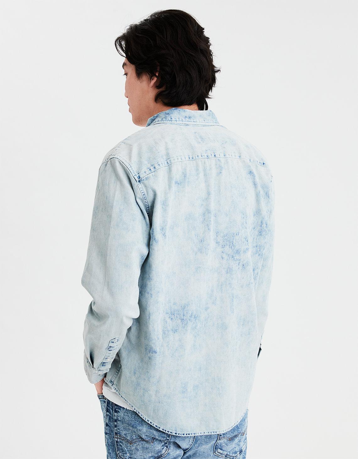 dfe4a4d6146 Lyst - American Eagle Ae Long Sleeve Acid Wash Denim Button Down Shirt in  Blue for Men