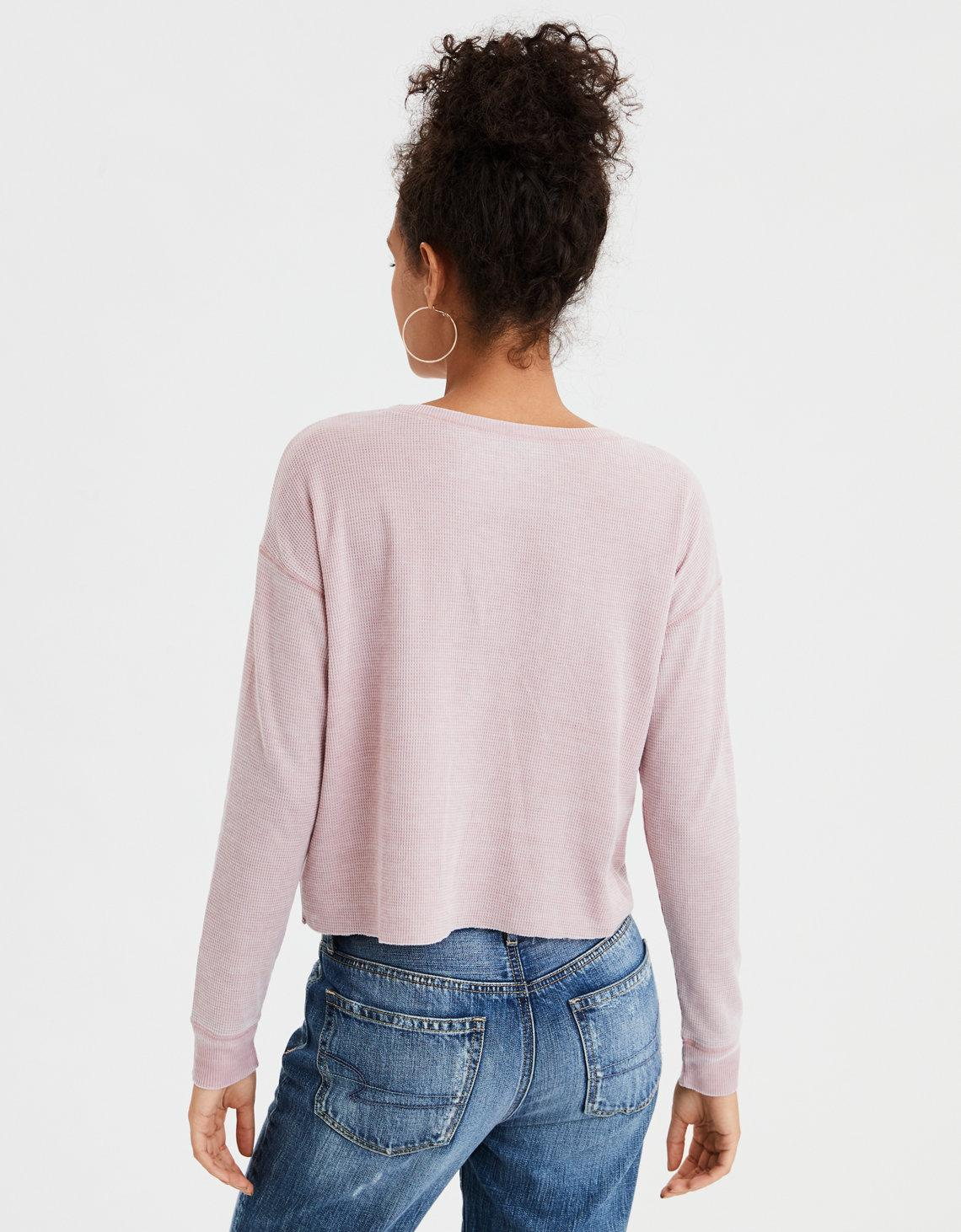 112ded939 Lyst - American Eagle Ae Long Sleeve Waffle Graphic Tee in Pink