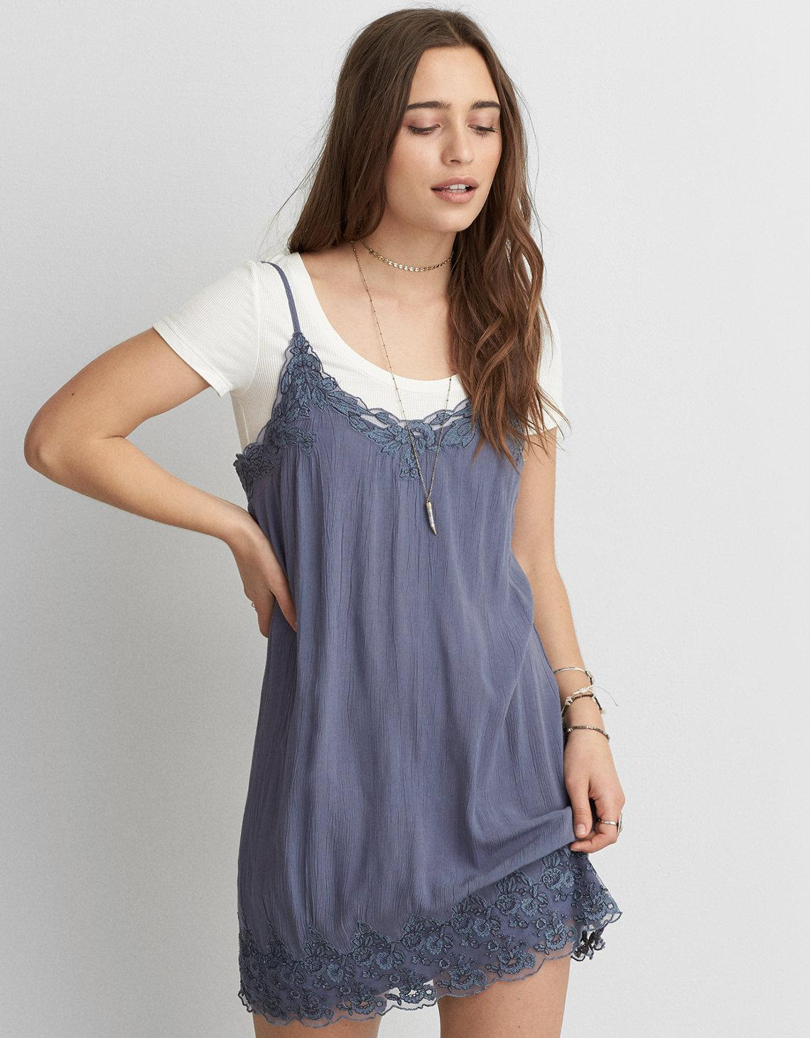 7ce2700c98 Lyst - American Eagle Corded Lace Slip Dress in Blue
