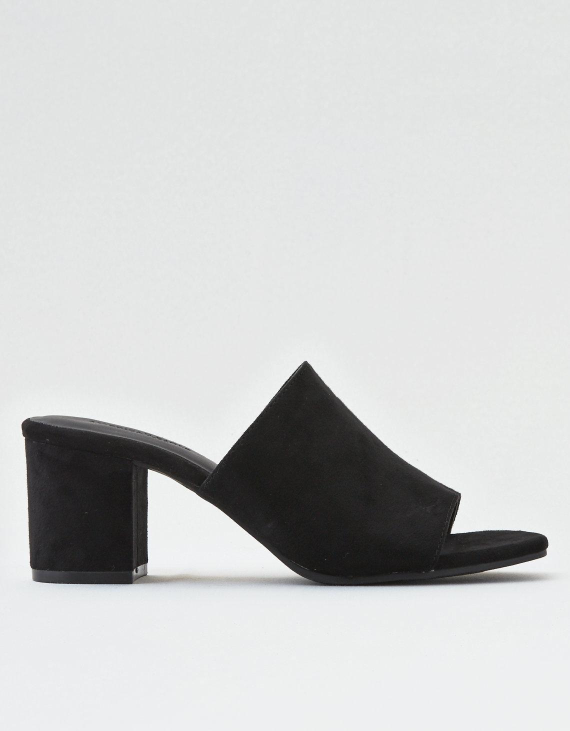 293c6fe02 Lyst - American Eagle Ae Block Heel Simple Slide Sandal in Black