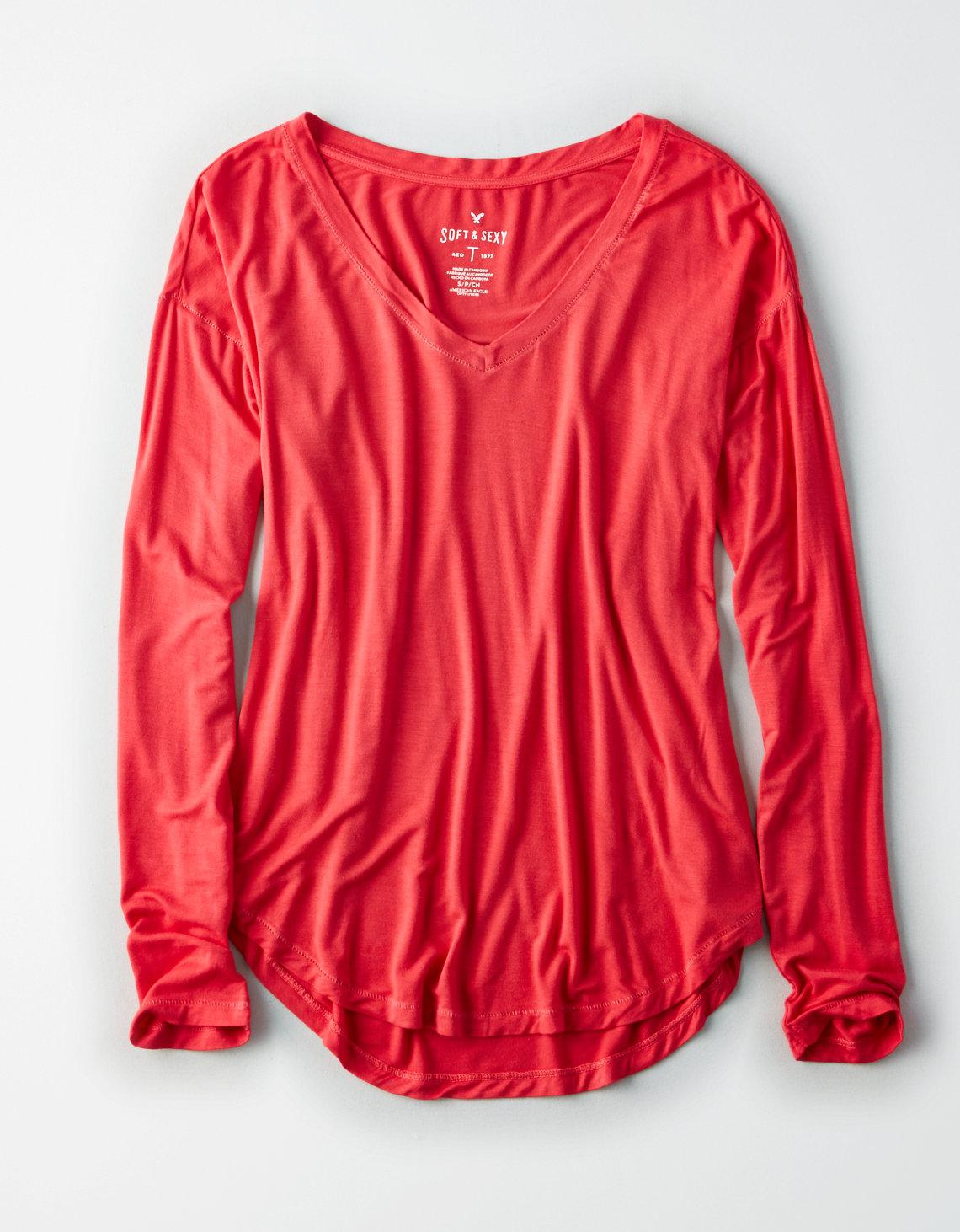7ca963a0305 American Eagle Ae Soft & Sexy Long-sleeve Favorite T-shirt in Red - Lyst