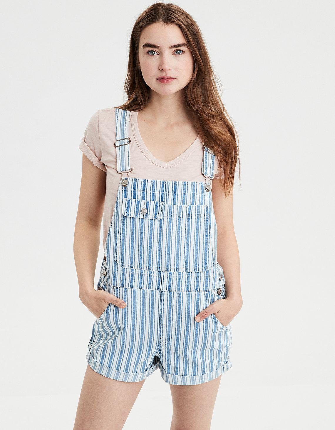 9d01fbd158 Lyst - American Eagle Ae High-waisted Tomgirl Denim Short Overall in Blue