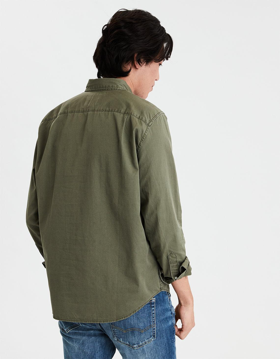 8e3ab78b2b Lyst - American Eagle Ae Long Sleeve Button Down Shirt in Green for Men