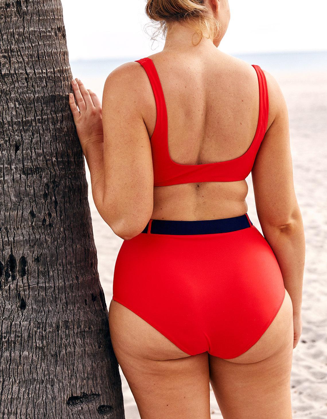 b1e1d6c9a5 American Eagle High Waisted Belted Bikini Bottom in Red - Lyst