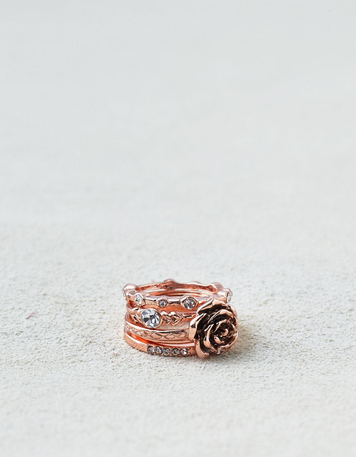 Lyst - American Eagle Ae Rose & Stones Rings 5-pack in Pink