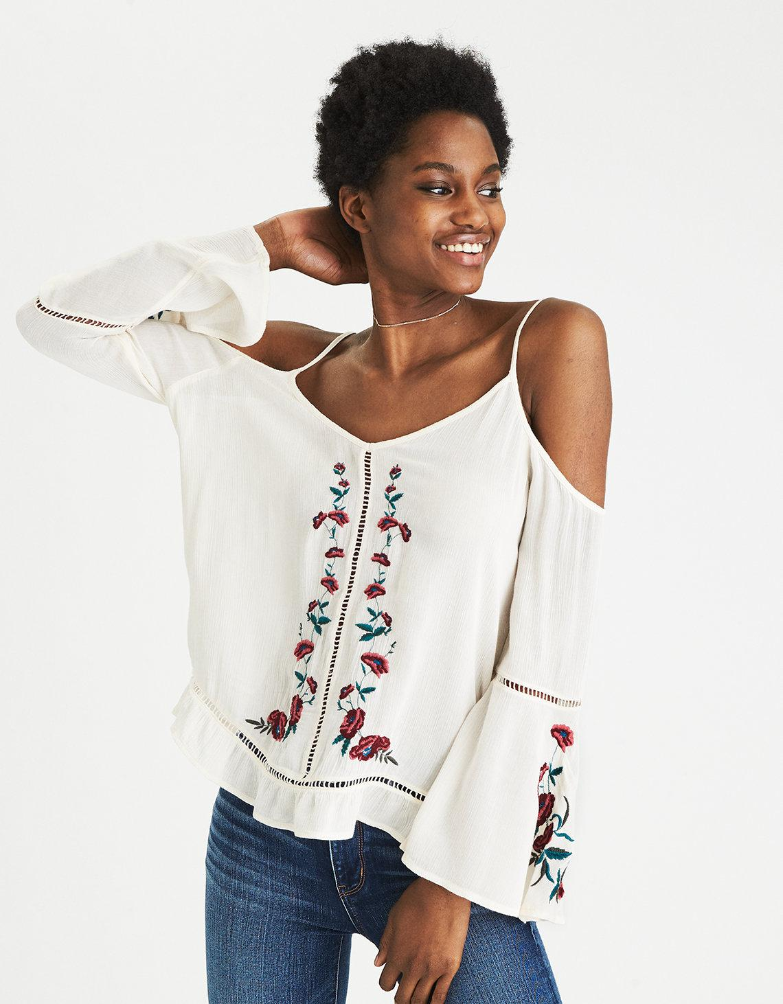 39aba5be7a672 Lyst - American Eagle Cold Shoulder Embroidered Top