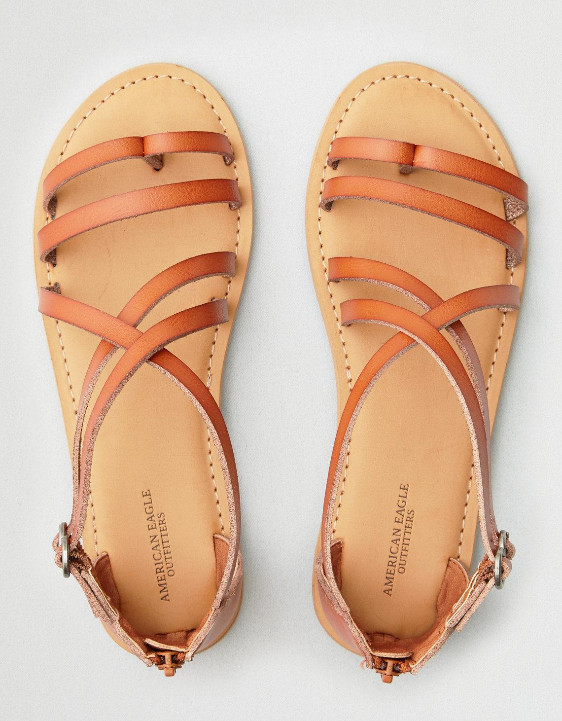 7c0ab36c3183f Lyst - American Eagle Ae Asymmetrical Thong Strap Sandal in Brown