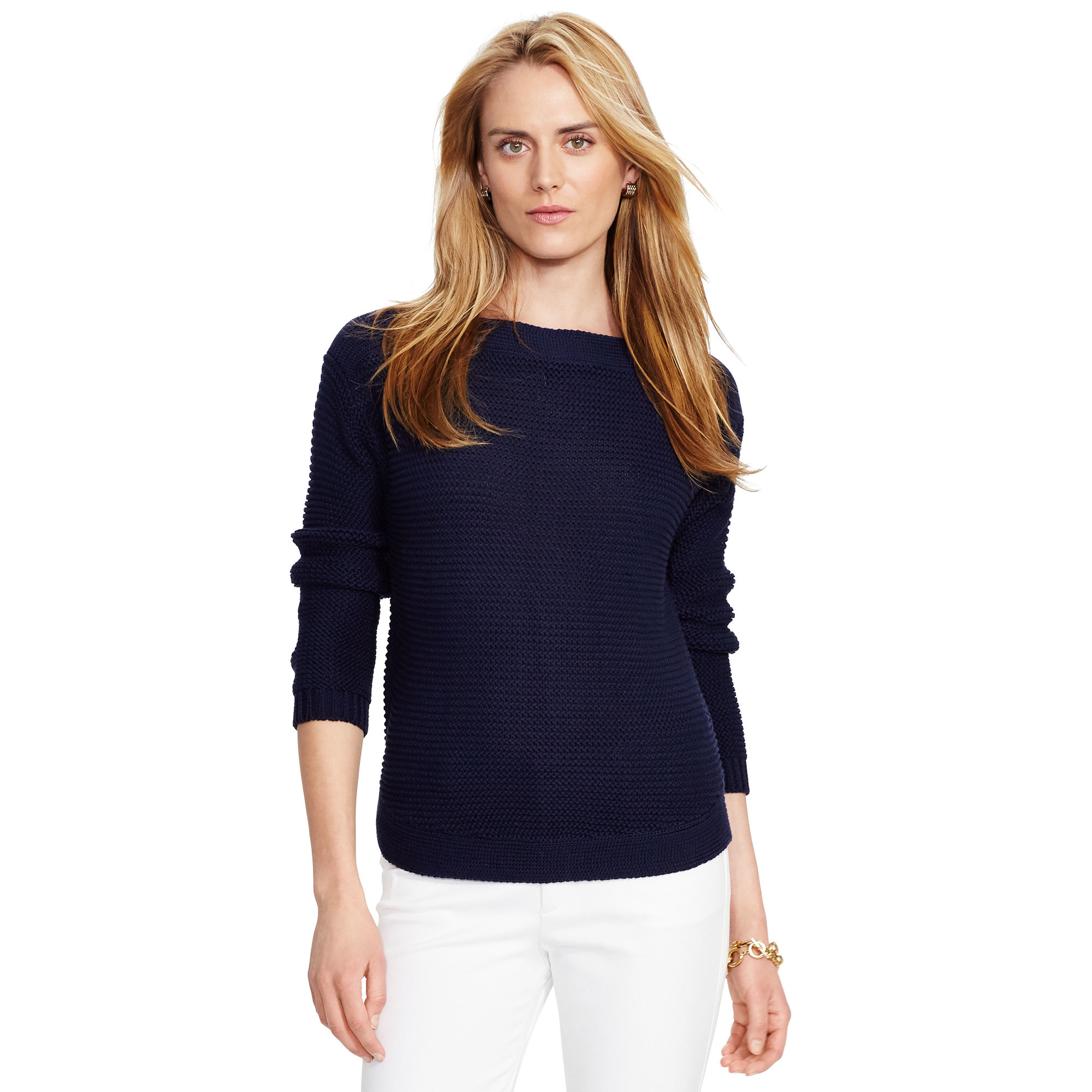 Pink pony Ribbed Cotton Boatneck Sweater in Blue | Lyst