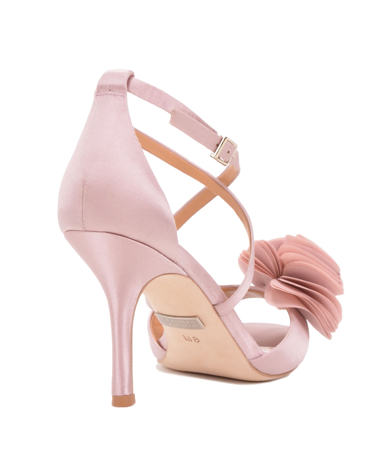 badgley mischka gaby strappy flower evening shoe in pink