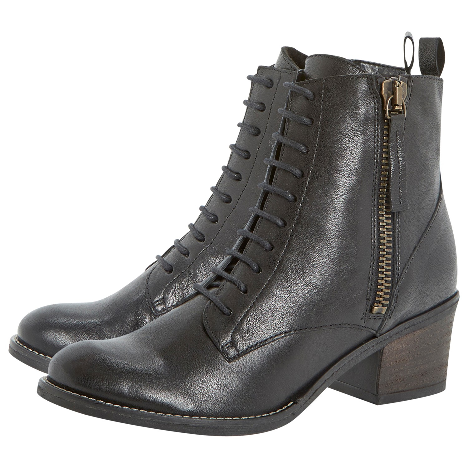 dune percey leather lace up ankle boots in black lyst
