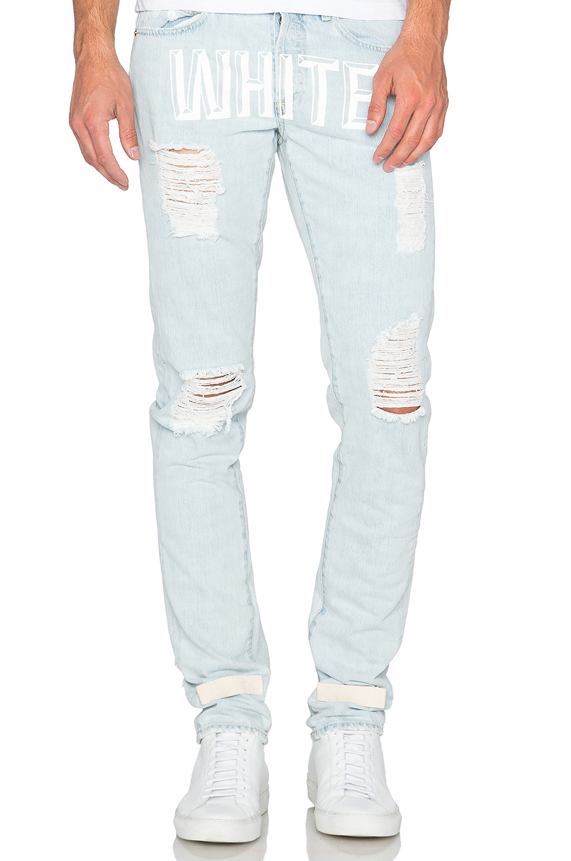 Off-white c/o virgil abloh Bleach Slim Fit 5 Pocket Jean in Blue ...