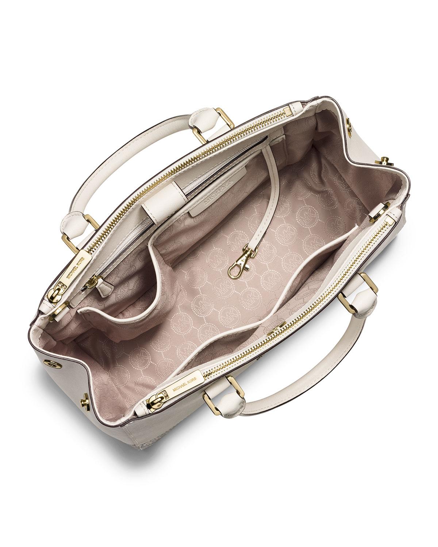 Lyst - MICHAEL Michael Kors Sutton Medium Satchel Bag in Natural e30df37c236fb