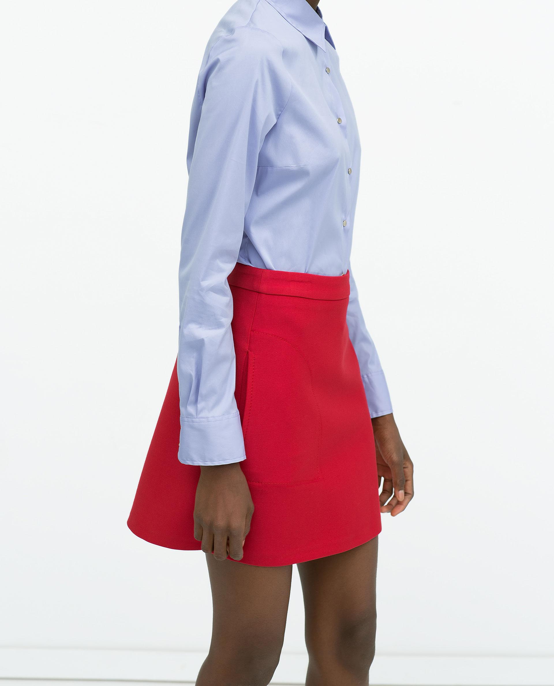 Zara poplin press stud shirt poplin press stud shirt in for Dress shirt studs uk