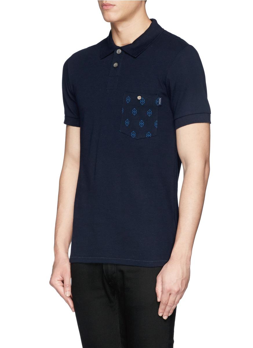 Paul smith cube print chest pocket polo shirt in blue for for Men s polo shirts with chest pocket