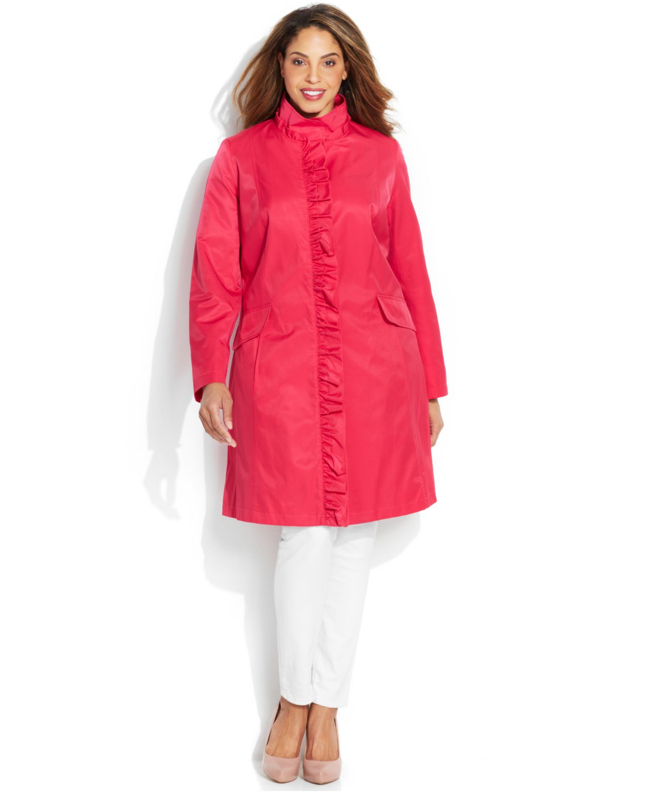 Dkny Plus Size Ruffled A-Line Raincoat in Pink | Lyst