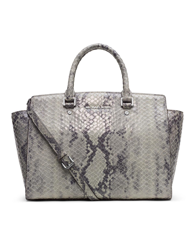 michael michael kors large selma snakeembossed satchel in. Black Bedroom Furniture Sets. Home Design Ideas