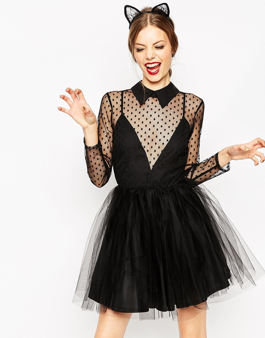 Lyst - Asos Lace Netted Prom Mini Skater Dress in Black