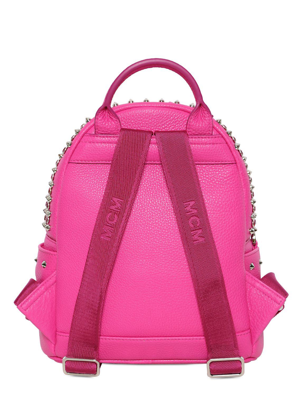 Lyst Mcm Mini Stark Swarovski Leather Backpack In Purple