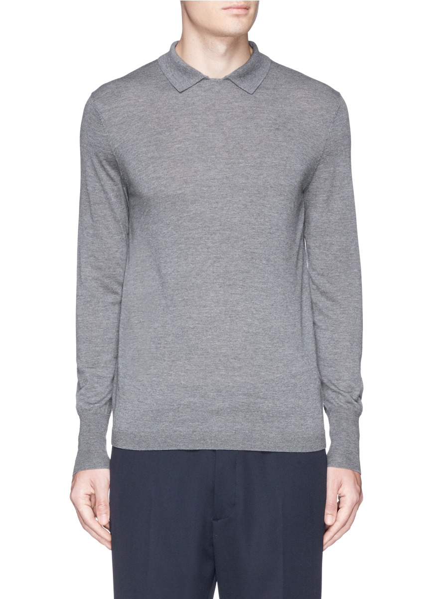 Acne studios 'janeck' Merino Wool Polo Sweater in Gray for ...