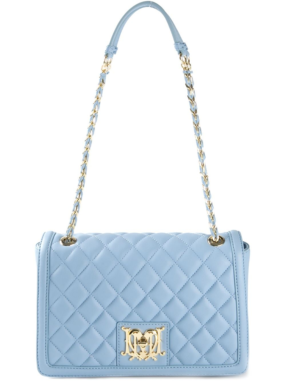 lyst love moschino quilted leather shoulder bag in blue. Black Bedroom Furniture Sets. Home Design Ideas