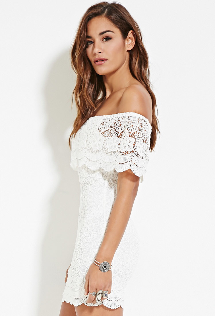 0a3c0a96fbb Forever 21 Crochet Off-the-shoulder Mini Dress in White - Lyst