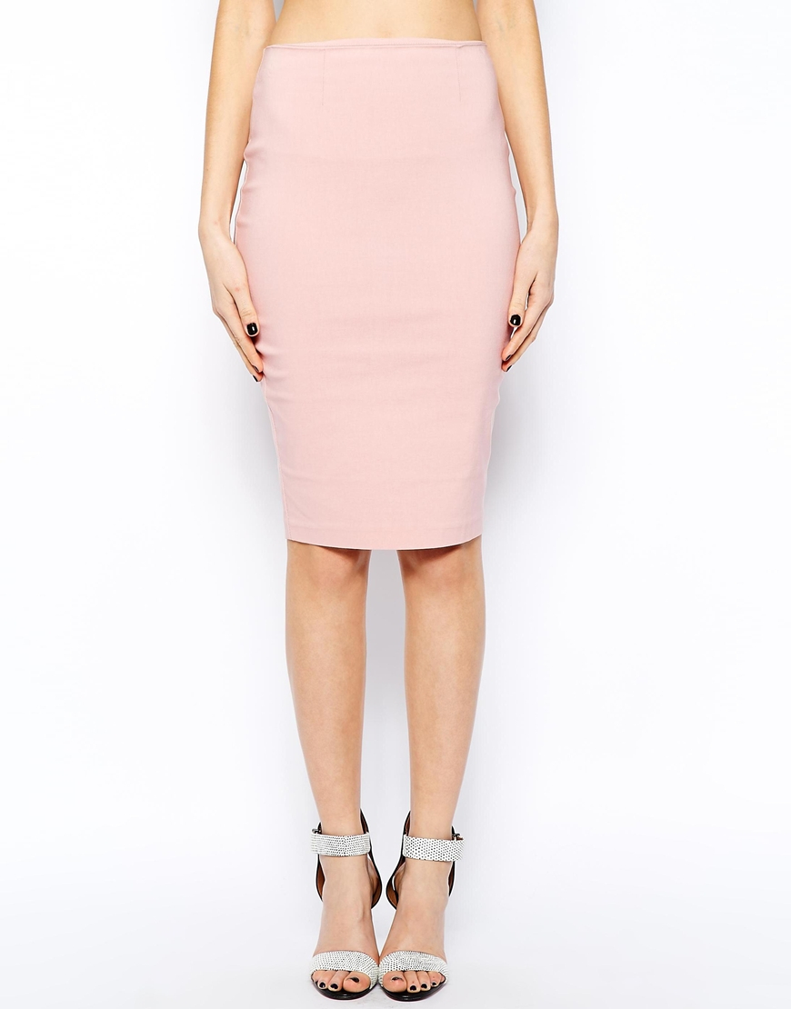 Asos High Waisted Pencil Skirt in Pink | Lyst