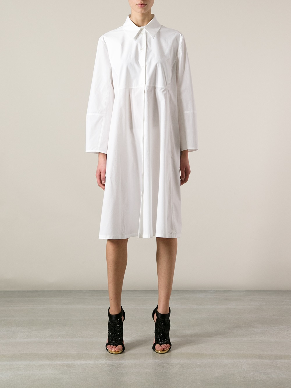 Lyst Antonio Marras Long Sleeve Shirt Dress In White