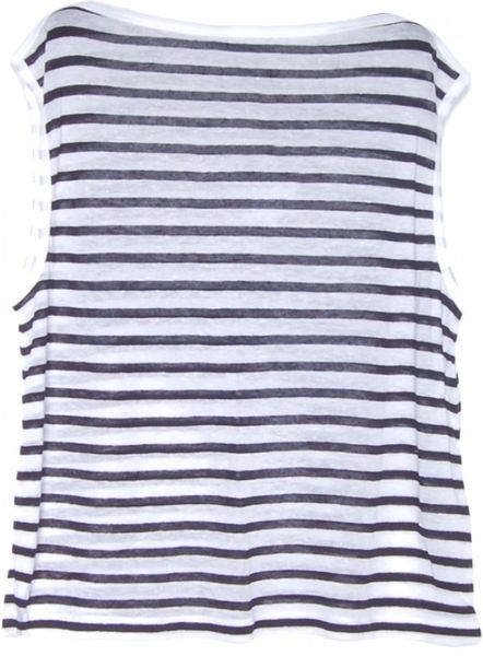 T By Alexander Wang Navy And White Stripe Linen Boatneck