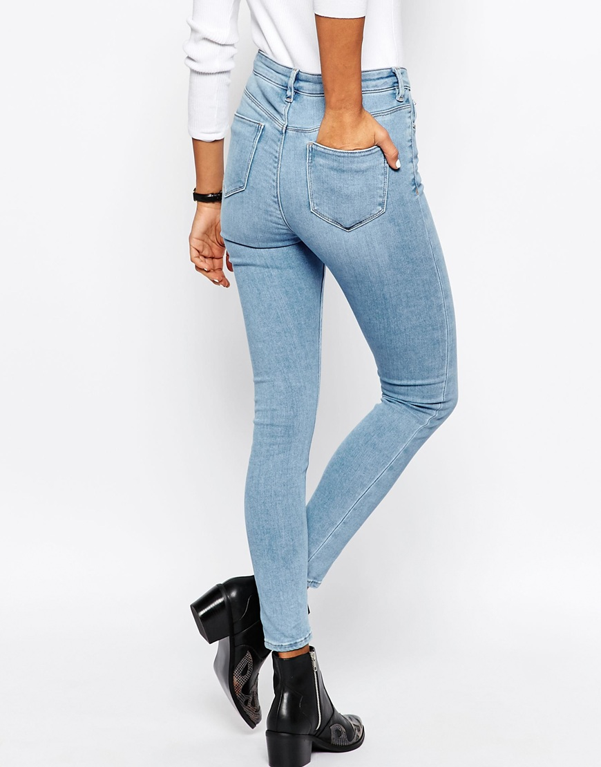 asos ridley high waist skinny jeans in carnation light stone wash in blue lyst. Black Bedroom Furniture Sets. Home Design Ideas