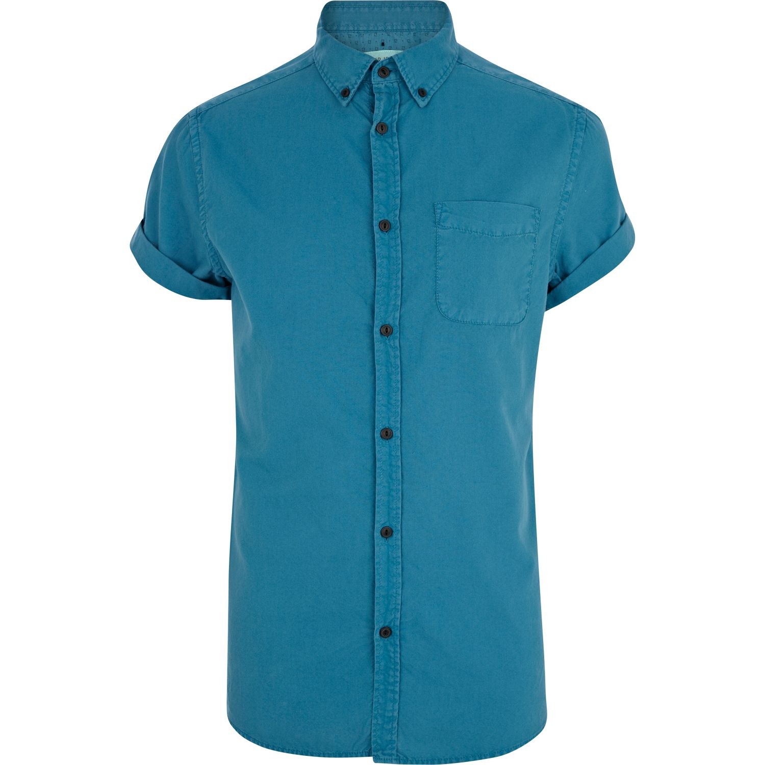 River island teal short sleeve oxford shirt in blue for for Teal mens dress shirt