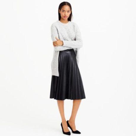 j crew black faux leather pleated midi skirt lyst