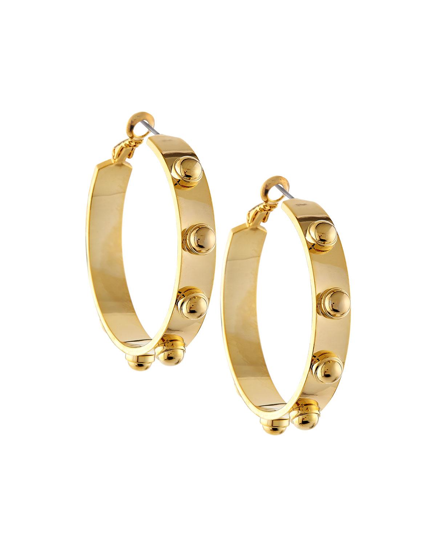 r j graziano studded golden hoop earrings in metallic lyst