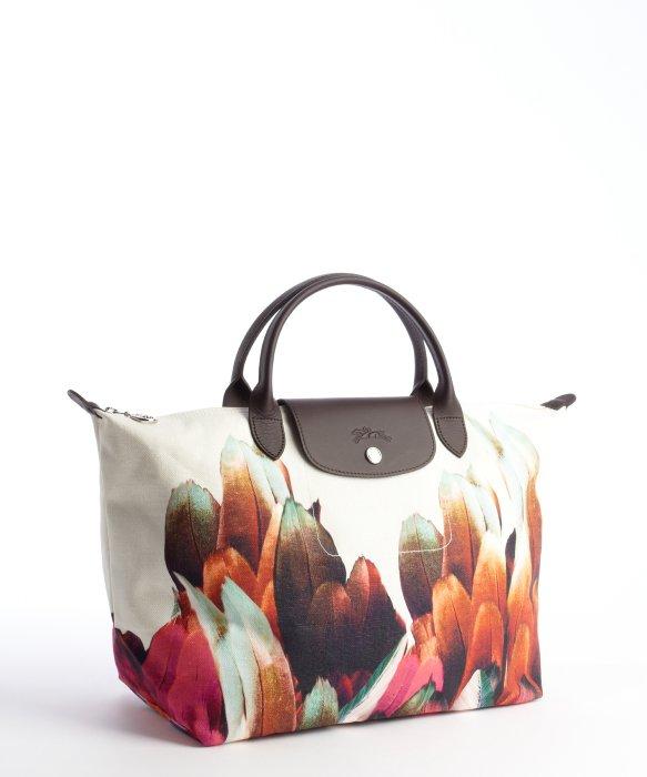 Longchamp Beige Canvas Floral Motif Tote Bag in Natural - Lyst b04a9f8e296e5