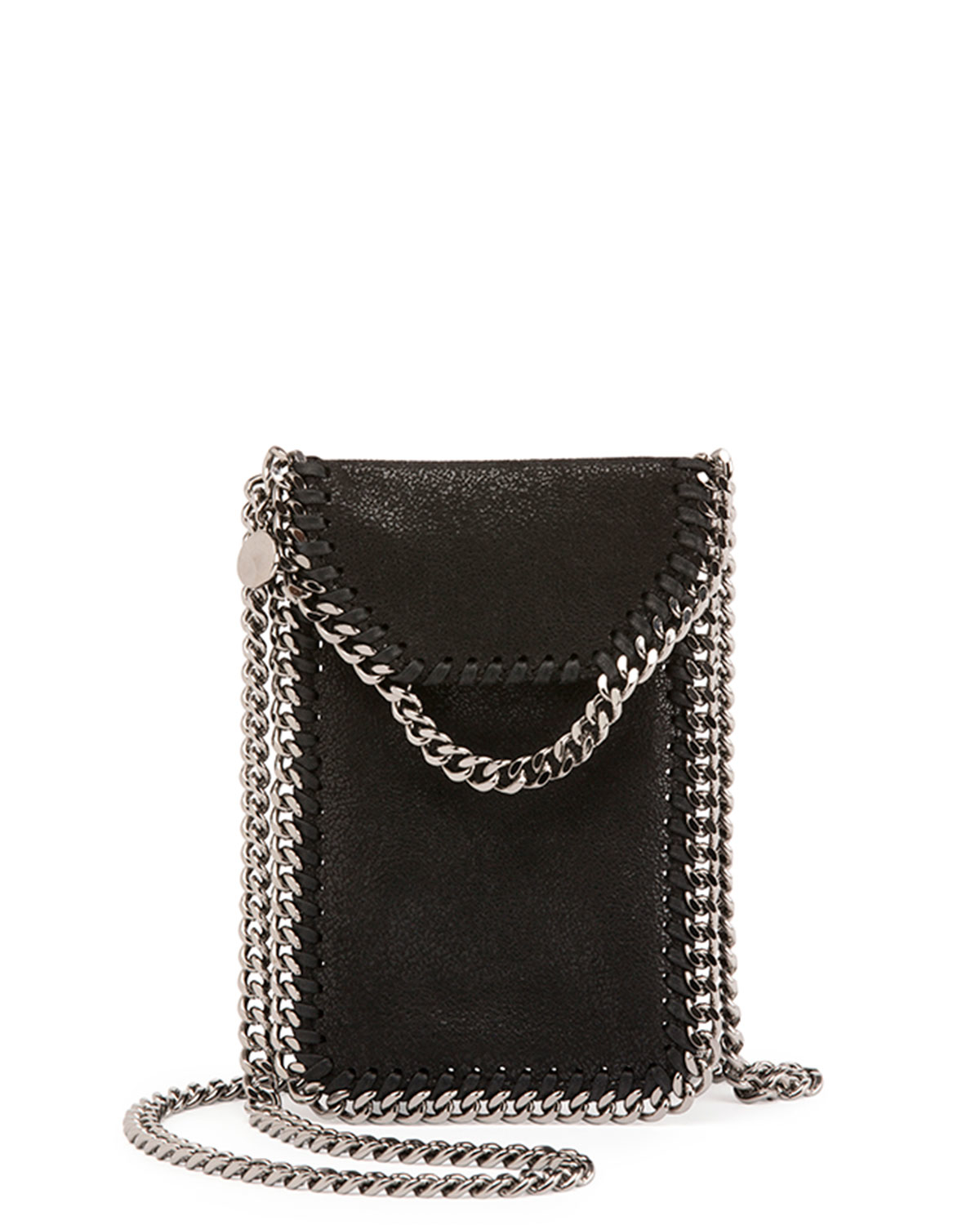 Lyst - Stella McCartney Crossbody Bag Phone Holder W chain Trim in Black f1b0412803a2f