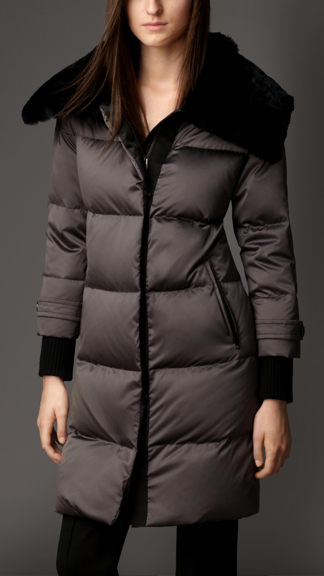 5370a963a931 Lyst - Burberry Fur Collar Down-Filled Puffer Coat in Gray