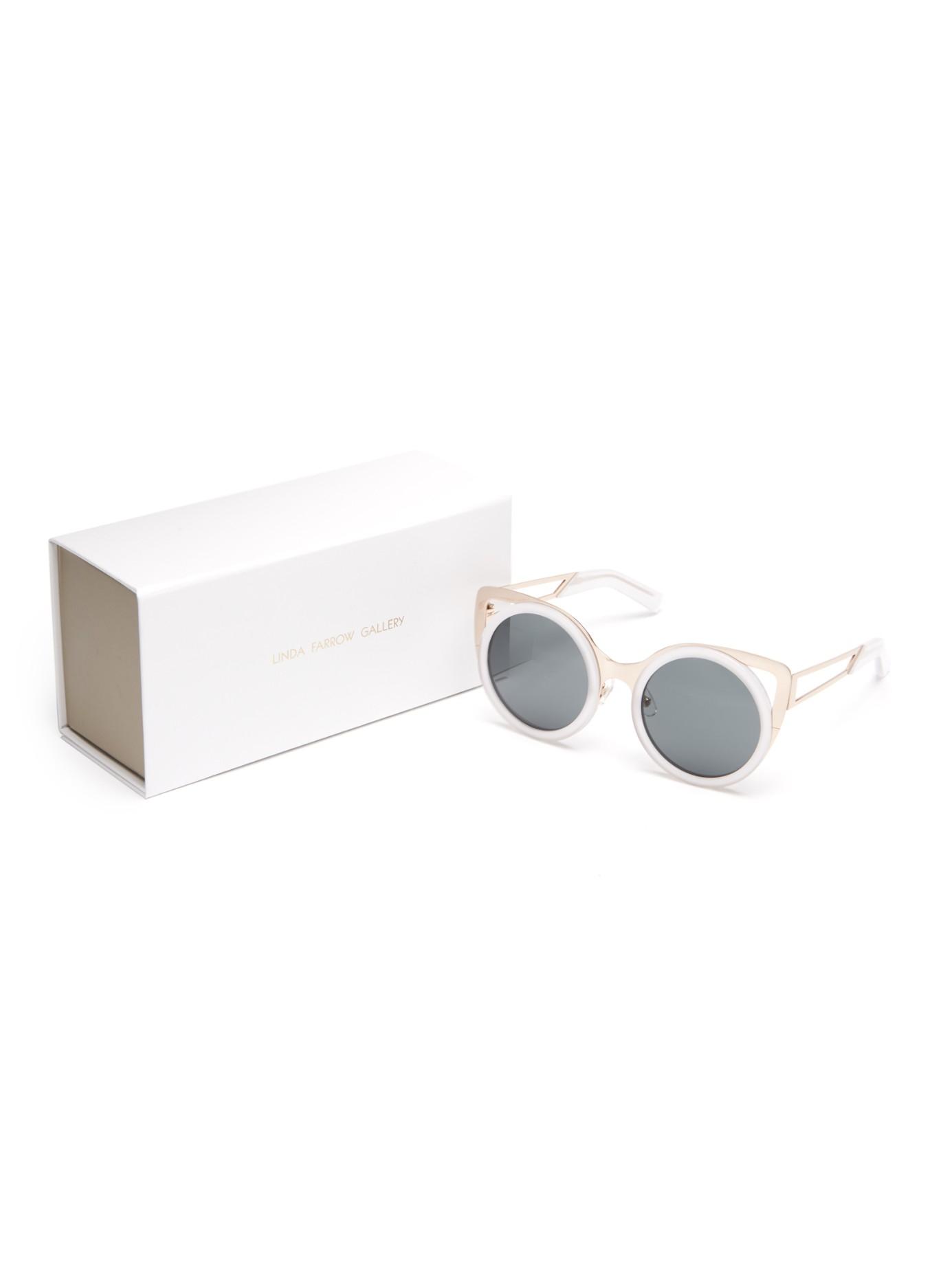 9ca5c2b37c6 Lyst - Erdem X Linda Farrow Cat-eye Sunglasses in White