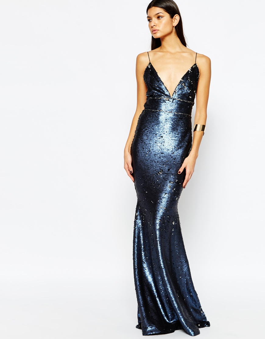 a523b46dd Club L Showstopper Open Back Sequin Maxi Dress With Fishtail - Blue ...