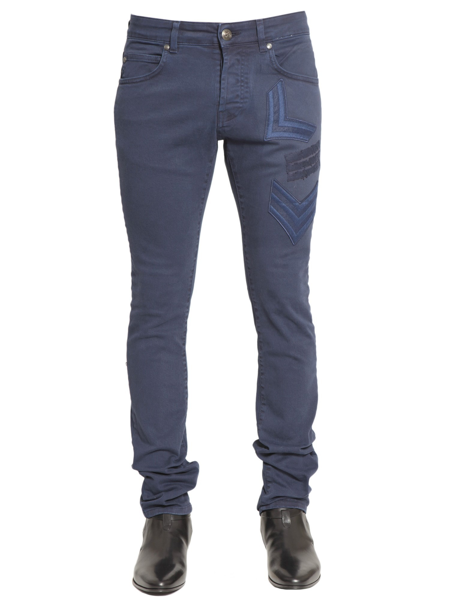 balmain cotton jeans with patch details in blue for men blu lyst. Black Bedroom Furniture Sets. Home Design Ideas