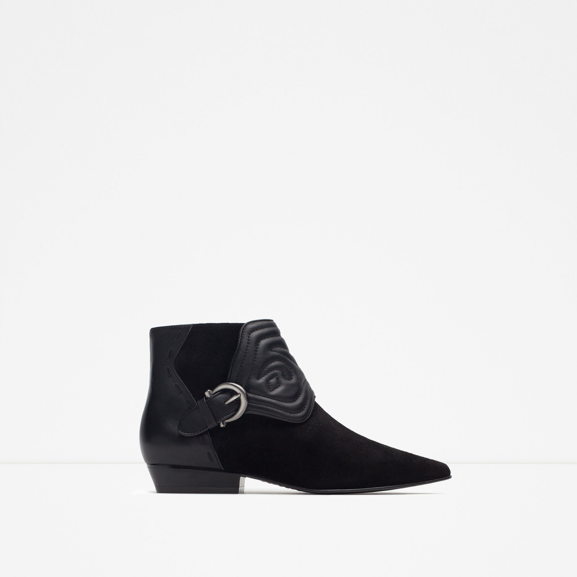zara embossed leather flat ankle boots in black lyst