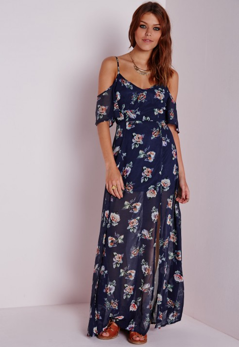 97dbc51987d Lyst - Missguided Cold Shoulder Maxi Dress Floral