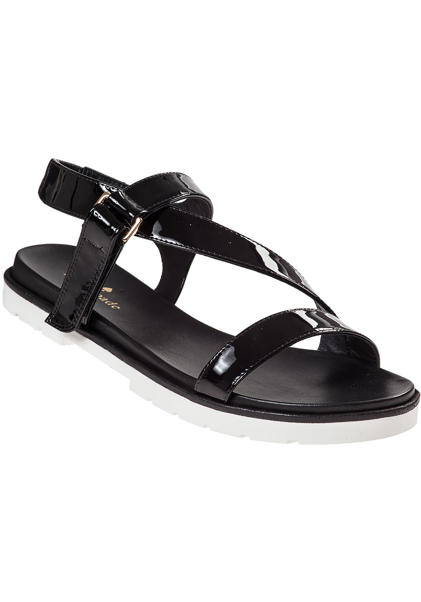 Black patent sandals flat
