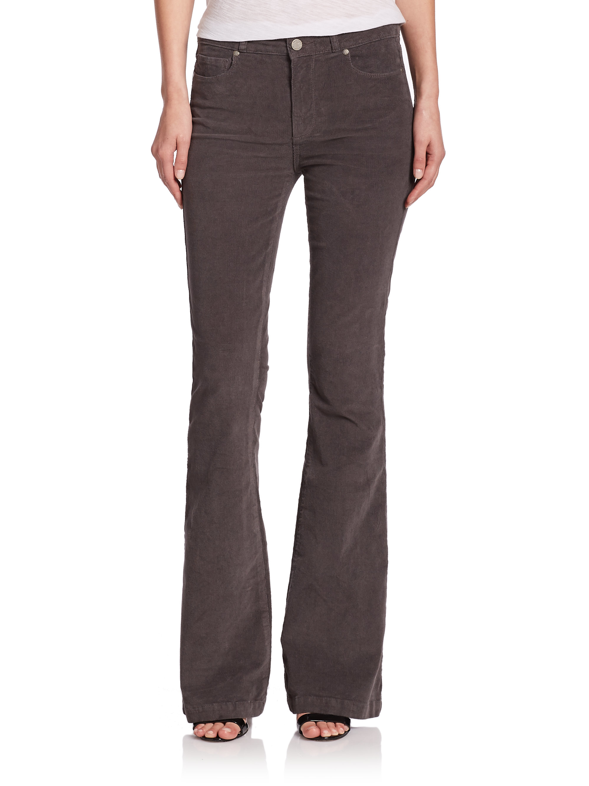 Paige Canyon High-rise Corduroy Flared Jeans in Gray | Lyst