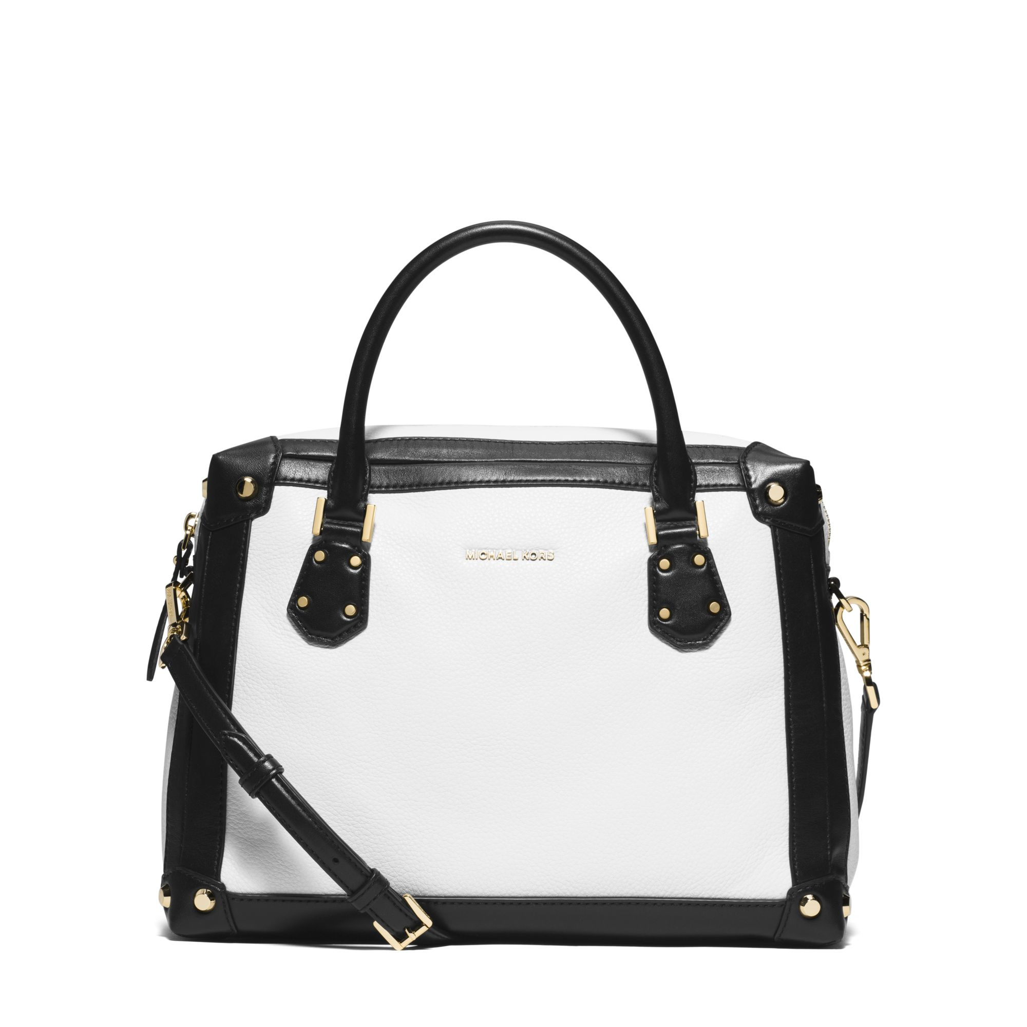 a848833d64da ... coupon for lyst michael kors taryn large leather satchel in black 51d09  28408