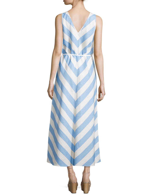 Neiman marcus Linen Striped Sleeveless Maxi Dress in Blue ...